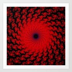 Red Space Spiral Fractal  Art Print