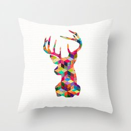 Hipster Vintage Deer Head Bright Patchwork Stripes Throw Pillow