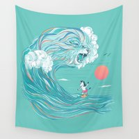 surfing Wall Tapestries featuring surfing zebra by Laura Graves