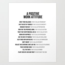 Positive Work Attitude, Office Decor Ideas, Wall Art Art Print