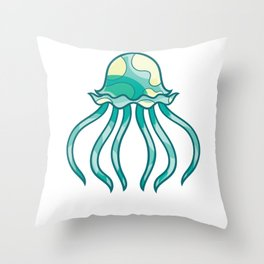 Polka Yellow Green Jellyfish Throw Pillow
