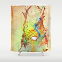 archan nair Shower Curtains featuring Turning Light by Archan Nair