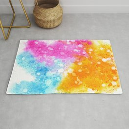 Colorful abstract in watercolor Rug