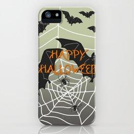 Flying Bat Happy Halloween iPhone Case