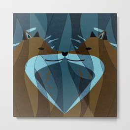 Gorgeous Foxes Kiss Design Metal Print
