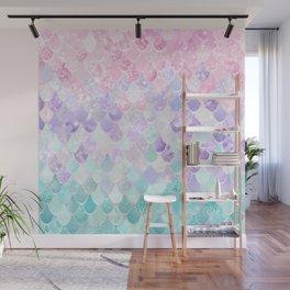 Cute Mermaid Pattern, Light Pink, Purple, Teal Wall Mural
