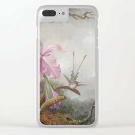Martin Johnson Heade - Hummingbirds And Orchids. Clear iPhone Case