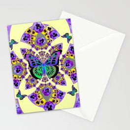 PURPLE  PANSIES & EXOTIC BUTTERFLY GEOMETRIC DESIGN Stationery Cards