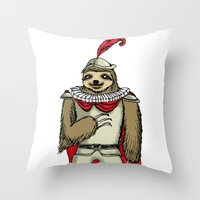 sloth Throw Pillows featuring Sloth  by Artifact Supply