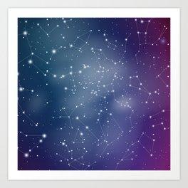 Zodiac Signs Constellations Gradient Shine Art Print