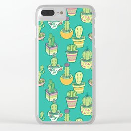 Southwestern Cactus Garden In Teal Clear iPhone Case