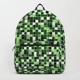 Grey, white, black, green, mint mosaic. Backpack
