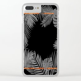 TROPICAL SQUARE COPPER BLACK AND GRAY Clear iPhone Case