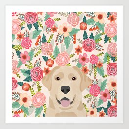 Labrador Retriever yellow lab floral pattern cute florals dog breed pure breed dog lover gifts Art Print