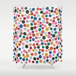 confetti rainbow dots Shower Curtain