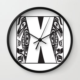 Northwest Pacific Coast American Native Totem White Letter X Wall Clock