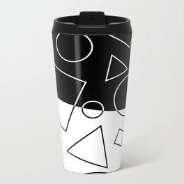 Black and White Geometric Shapes Wave Metal Travel Mug
