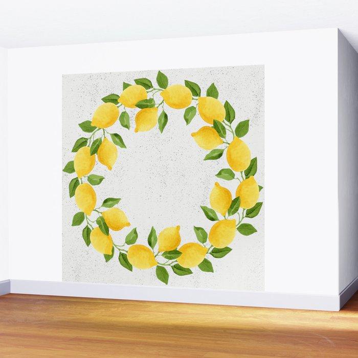 Watercolor Lemons Wall Mural