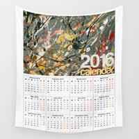 calendar Wall Tapestries featuring 2016 Calendar Jackson Pollock  by James Peart
