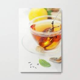 Tea with mint, ginger and lemon on white background Metal Print