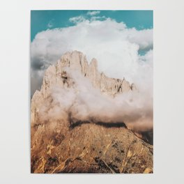 Mountains in Clouds.  Nature Landscape Photography Poster