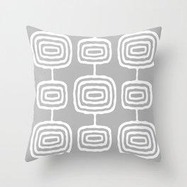 Mid Century Modern Atomic Rings Pattern 771 Gray Throw Pillow