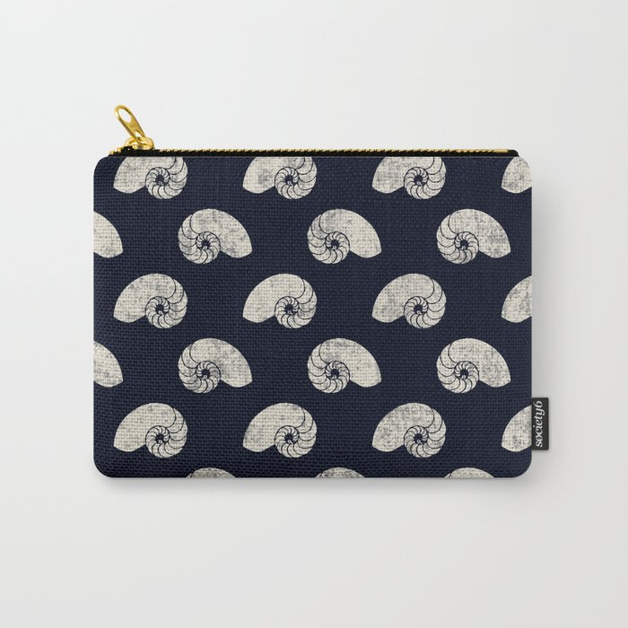 Navy blue maritime sea shell pattern Carry-All Pouch