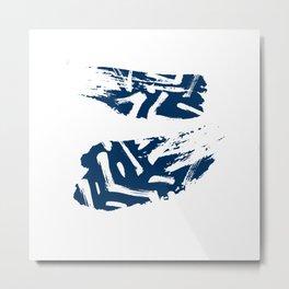 Blue Zen Minimal Abstract Art Pattern Metal Print