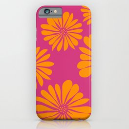 Fuchsia Orange Simple Flowers iPhone Case