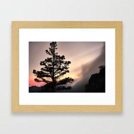 Foggy Mountains at sunset. Garajonay National Park Framed Art Print