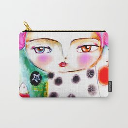 Dream a bit...every day! pink hair girl fish flowers Carry-All Pouch