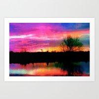 Watercolor January Texas Sunrise Art Print
