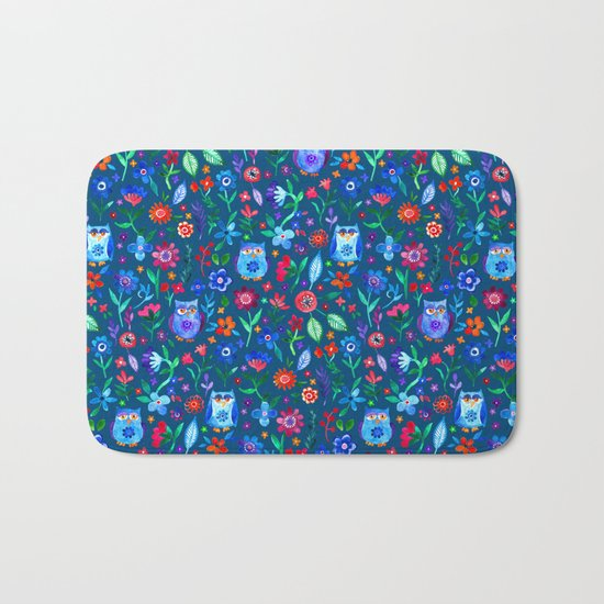 Little Owls and Flowers on deep teal blue Bath Mat