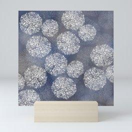 Denim Blue Shibori Sea Urchin Burst Pattern Mini Art Print