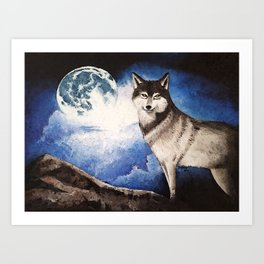 Wolf and His Moon Art Print