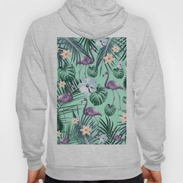 Tropical Flamingo Flower Jungle #5 #tropical #decor #art #society6 Hoody