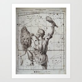 Astronomy: a chart of the constellation Orion Art Print