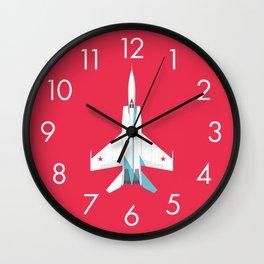 MiG-25 Foxbat Interceptor Jet Aircraft - Crimson Wall Clock