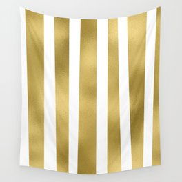 Gold unequal stripes on clear white - vertical pattern Wall Tapestry