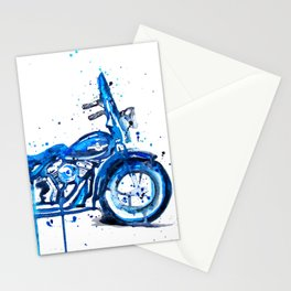 Blue Motorcycle Stationery Cards