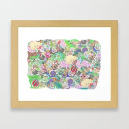 kitty cat lovers graffiti doodle Framed Art Print
