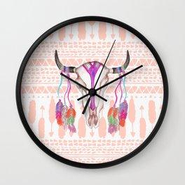 Watercolor Bull Skull Feathers and Arrow Aztec Wall Clock