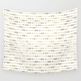 White & Gold Arrow Pattern Wall Tapestry