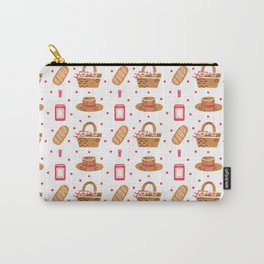 Modern brown pink hand painted watercolor picnic pattern Carry-All Pouch