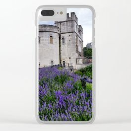 White Marble & Violet Flowers Clear iPhone Case