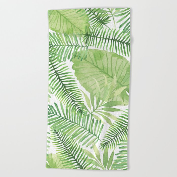 Tropical Branches Pattern 09 Beach Towel