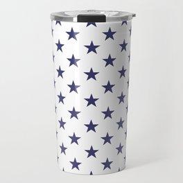 Stars, stars, stars. Blue stars on white background. Travel Mug