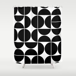 Mid Century Modern Geometric 04 Black Shower Curtain
