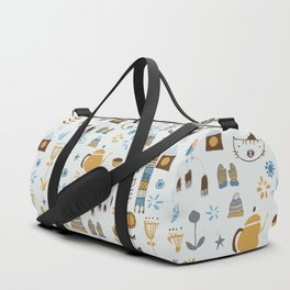 hygge cat and bird gray Duffle Bag