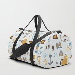 hygge cat and bird gray Duffle Bag